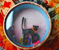1930's Celluloid Black Cat Ring the Cat's Tail Puzzle Toy