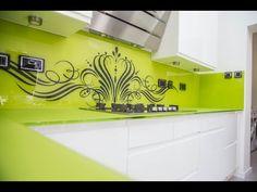 Lime Green Non-Scratch Worktop & Stencil Artwork Splashback 01923 819 684 Glass Kitchen, Kitchen Items, Beautiful Kitchens, Cool Kitchens, Quality Kitchens, Kitchen Worktop, Bike Art, Work Tops, Exposed Brick