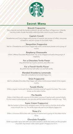 The Secret Menu At Starbucks This changes . The Secret Menu Starbucks Hacks, Bebidas Do Starbucks, Secret Starbucks Recipes, Healthy Starbucks Drinks, Starbucks Secret Menu Drinks, Starbucks Frappuccino, Healthy Drinks, Diy Starbucks Drink, Starbucks Calories