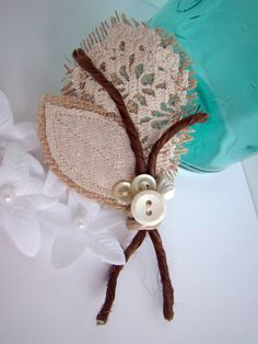 Rustic Vintage Wedding Boutonniere Burlap Country by TwiningVines, $12.00