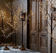 Absolutely gorgeous. Trees with their own stands and decorated with little lights.  Great for Christmas as well.