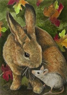 Bunny Rabbit Art by Melody Lea Lamb ACEO Print by MelodyLeaLamb, $6.25