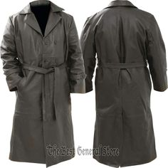 Mens Black Solid Buffalo Leather Long Trench Coat Duster Double Breasted Belted in Clothing, Shoes & Accessories, Men's Clothing, Coats & Jackets   eBay