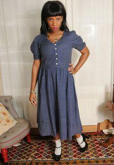 Vintage 70's Blue Star Print Laura Ashley Dress UK 14 - Lovethebaroness vintage