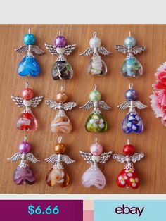 Charms Jewelry Guardian Angel Charms Pendants Lampwork Heart Beads Wings Colors May Vary - Wire Crafts, Bead Crafts, Jewelry Crafts, Beaded Jewelry, Handmade Jewelry, Handmade Beads, Bead Jewellery, Jewelry Findings, Bridal Jewelry