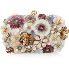Accessorize Summer Floral 3D Hardcase Clutch Bag (2.895 RUB) ❤ liked on Polyvore featuring bags, handbags, clutches, purses, accessories, floral, chain strap purse, floral clutches, flower print handbags and beaded handbag