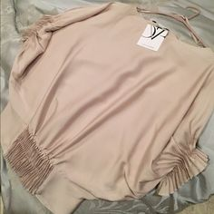 """DVF silk dolman top Diane von Furstenberg silk dolman style top. NWT. Size 2, although I'm typically a 4 and this fits me. Pretty pleating detail at hem (front and back) and on sleeves. 95% silk, 5% spandex. Color is called """"dusty nude."""" It's kind of a bone, or a very pale taupe. Purchased from Saks. Open to offers.  Diane von Furstenberg Tops Blouses"""
