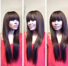Full Sew-In Weave with Bangs and Fringed Layers (minimal hair was left out to cover the tracks) | Yelp