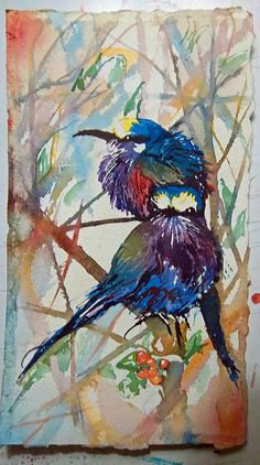 The 2 Birds by Marcie Hunter Watercolor ~  x