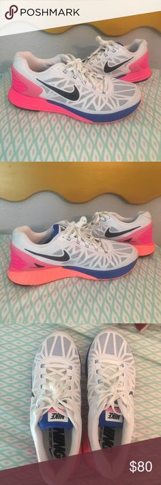 Women's Nike Lunarglide 6 Shoes These nikes are seriously the cutest shoes. They have been worn ONCE and are practically brand new. Perfect for running or everyday wear. They are women's size ten and fit TTS. Bright pink, orange and blue. Nike Shoes Athletic Shoes