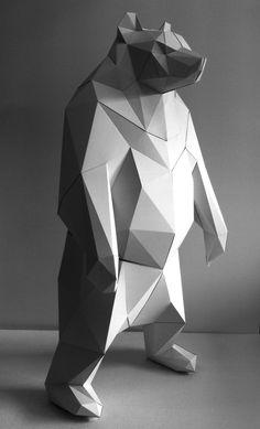 Conservation animals Animals- Taiwan black bear. Origami Paper Art, 3d Paper Crafts, Paper Toys, Cardboard Sculpture, Sculpture Art, Metal Animal, Low Poly, Modelos 3d, Paper Animals