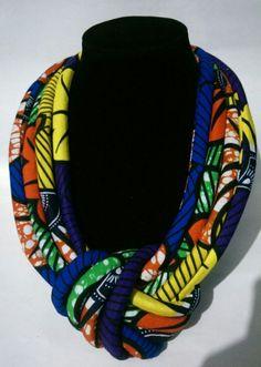 Braided Ankara Necklace African American Fashion, African Print Fashion, Africa Fashion, African Fashion Dresses, African Dress, Fashion Prints, African Prints, African Style, African Necklace