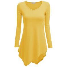 Doublju Women Handkerchief Hem Line Long Sleeve Lightweight Knitting... ($27) ❤ liked on Polyvore featuring tops, tunics, tunic, gold, yellow, knit tunic, beige top, long sleeve tunic, yellow long sleeve top and knit tops