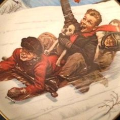 Items similar to SALE Vintage 1975 Norman Rockwell Joy Unconfined Christmas Plate, Downhill Daring, Royal Devon. Old Time Christmas, Christmas Post, Christmas Plates, Vintage Christmas, Norman Rockwell Christmas, Norman Rockwell Art, Norman Rockwell Paintings, Vintage Pictures, Vintage Images