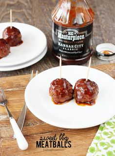 An easy and savory appetizer. Sweet BBQ Meatballs with livelaughrowe.com #KCMasterpiece