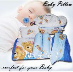Komplit 4 macam terdiri dari : Tas, Gendongan Samping, Set Bantal dan Alas TidurTas bayi ini berwarna biru tua dengan motif Polkadot BearPada tas ada temp