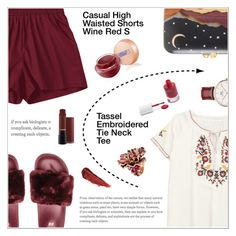 """""""Wine Red Shorts + Embroidered Tee"""" by shambala-379 ❤ liked on Polyvore featuring Silvia Furmanovich, Lipstick Queen, rms beauty, Passionata, Daniel Wellington and By Terry"""