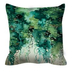 BEAUTY in the RAIN, GREEN Colorful Watercolor Art Suede Throw Pillow Cover 20x20…