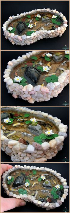 bon-appeteats: Commission for a large stone pond with 9 koi fish, one frog, two turtles, and water lilies. (miniature resin sculpture)