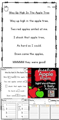 "FREEBIE! Way Up High In The Apple Tree poem, 2 focus sight words, plus 5 leveled activities! Students will highlight sight words ""butter the popcorn"", re-build the poem in order, count syllables, arrange words in ABC order, and fill-in-the blank sight words. Activities are leveled to provide support or a challenge."