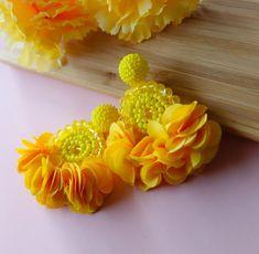 Yellow Beaded Flower Tassel Earrings - Lux Store DR
