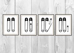 Funny Baby Shower Gift  Set of 4 Prints  Safety Pins por BySamantha, $20.00