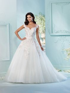 David Tutera - Tulle, sequin tulle, organza and hand-beaded metallic embroidered Schiffli lace appliqués over satin ball gown with lace accented cap sleeves, illusion bateau neckline, sweetheart bodic Mon Cheri Wedding Dresses, Mon Cheri Bridal, Wedding Dresses 2018, Princess Wedding Dresses, Wedding Dress Styles, Bridal Dresses, Gown Wedding, Prom Dresses, Tulle Wedding