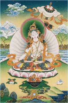 Beautiful White Tara Thangka ~The FEmale Buddha. She refused to incarnate as a man. Buddha Kunst, Buddha Art, Buddha Buddhism, Tibetan Buddhism, Illustration Arte, White Umbrella, Thangka Painting, Arte Tribal, Spirituality
