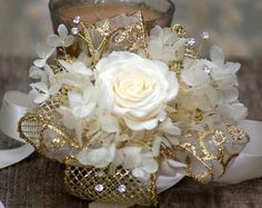 Gatsby Corsage and/or Boutonniere Set Gold Ivory Preserved Real Rose Kennedy