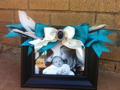 ribbon and feathers finished frame