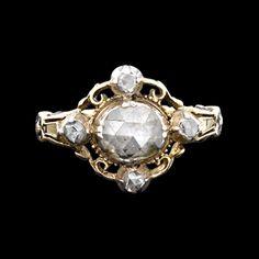 Georgian Rose Cut Diamond Cluster Ring, circa 1790.