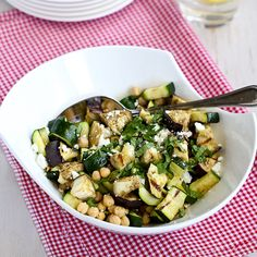Grilled Eggplant & Zucchini Salad Recipe with Feta, Chickpeas & Mint : Cookin' Canuck