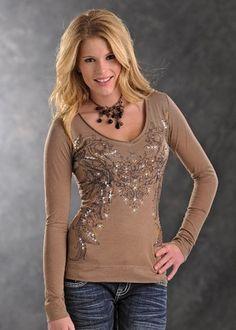 Womens Panhandle Slim Tan Tonal Print Long Sleeve Shirt