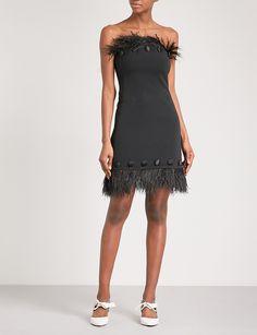 DAVID KOMA - Ostrich feather-trim crepe dress | Selfridges.com