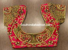cut work blouse designs for silk pattu kanjeevaram bridal sarees by anya Cut Work Blouse, Hand Work Blouse Design, Simple Blouse Designs, Bridal Blouse Designs, Blouse Neck Designs, Pattu Saree Blouse Designs, Sari Blouse, 2015 Fashion Trends, Designer Blouse Patterns