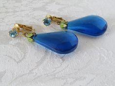 Vintage Sapphire Blue Teardrop Crystal Dangle Lucite Clip On Earrings Germany