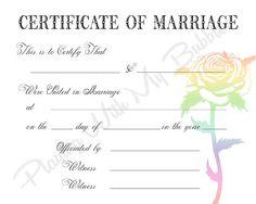 Keepsake Marriage Certificate Template  All Things Wedding