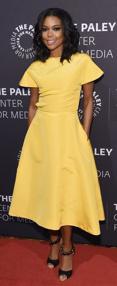 When a classic shape meets a bold color, you can't go wrong. That's exactly the combo that helped Gabrielle Union expertly pull off this A-line Rosie Assoulin dress at the Paley Center's Tribute to African-American Achievements in Television.