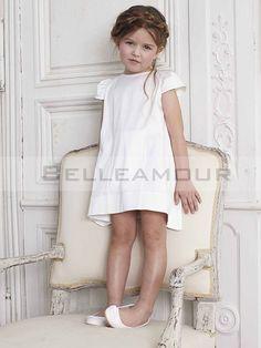 Robe de Cortège Enfant Blanche Manches Courte Noeud