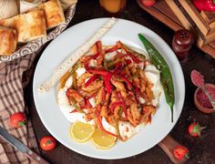 Chicken fajita, chicken fillet fried with bell pepper in lavash with bread slices in white plate #paid, , #Paid, #affiliate, #fillet, #Chicken, #fajita, #fried