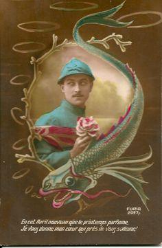 """French postcard for April 1st : """"En cet Avril nouveau que le printemps parfume, Je vous donne mon coeur qui près de vous s'allume!"""" - dated 1919 - Marie J's collection"""