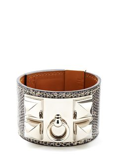 Hermes Collier De Chien Cuff Bracelet in Lizard embossed leather