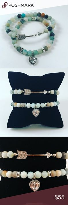 Women bead bracelets set valentine arrow cz heart Women beaded Bracelets. Both bracelets fits most 5.5 to 7.5 inch wrist . Handmade by me never worn by anyone. Made with Amazonite beads . 925 Sterling silver and cubic zirconia dangly heart .  And rodhium plated arrow with cubic zirconia as well . I ship fast!!✈️ Bundle and save! ( 10 % off bundles) REASONABLE offers considered. Any questions let me know! NO PAYPAL ! Jewelry Bracelets