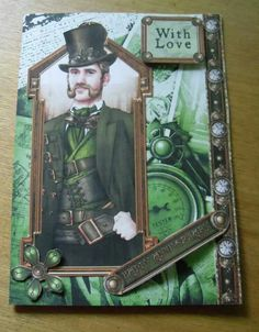Steampunk card inspired from Debbi Moore cd Debbie Moore, Steampunk Cards, Card Designs, Steam Punk, Crafts To Make, Handmade Cards, Cardmaking, Card Ideas, Projects To Try