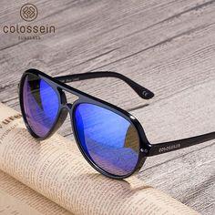 COLOSSEIN Pilot Sunglasses Polarized Classic Fashion Eyewear Oval Lenses  UV400 Retro Female Men Fashion Goggle 2018 86591023cb