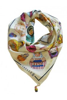 Silk Matrioshka Scarf in Cream