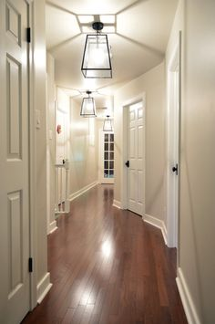 ideas grey hallway lighting floor colors - New ideas Bright Hallway, Black Hallway, Hallway Colours, Black Door, Young House Love, 6 Panel Internal Door, Hallway Designs, Hallway Ideas, Hallway Light Fixtures