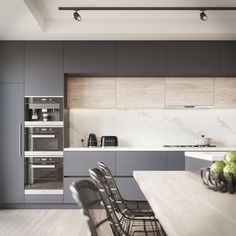 Kitchen Visualisation featuring a Benjamin Moore Black Berry colour. Most Popular Kitchen Design Ideas on 2018 & How to Remodeling Kitchen Room Design, Modern Kitchen Design, Kitchen Layout, Home Decor Kitchen, Interior Design Kitchen, Kitchen Furniture, New Kitchen, Home Kitchens, Kitchen Wood
