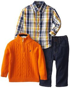 Nautica Baby-Boys Infant 3 Piece Woven Sweater Denim Set, Orange, 12 Months Nautica http://www.amazon.com/dp/B00KEZYW3C/ref=cm_sw_r_pi_dp_1t9Zub0163P9Y