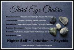 """Third Eye Chakra"" Open and Balance your Third Eye Chakra to expand your psychic & intuitive abilities with this wonderful Medicine Bag of Chakra Stones. Visit us here at https://www.etsy.com/listing/179848738/"